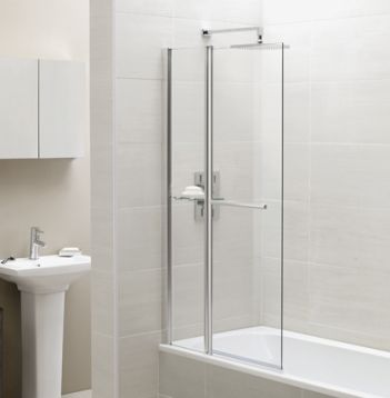 Square Fixed Panel Bath Screen with Towel Rail