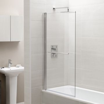 Square Single Bath Screen with Towel Rail